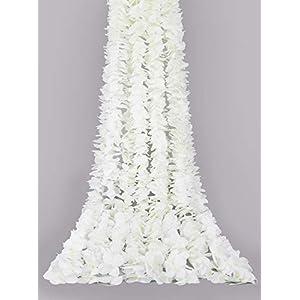 Ivalue 12PCS 6.56Ft Artificial Silk Wisteria Vine Hanging Flowers Garland Bush Flower Vine Ratta for Home Party Wedding Arch Backdrop Decor (White, 12pcs)