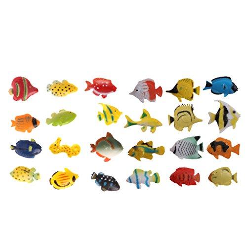 lahomia 12pcs Plástico Animales Marinos Juguete Surtido Modelo de Peces de Mar