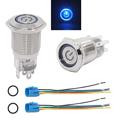GTIWUNG 12V 16mm Enclavamiento Pulsador de Botón Metálico Interruptores,Interruptor Pulsador de Metal,Interruptor de Botón de Bloqueo,ON/OFF Pulsador Acero Inoxidable Impermeable Plana Top,Azul LED