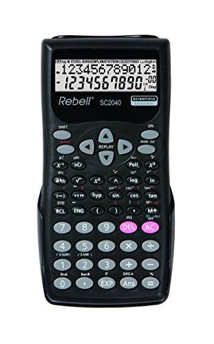 Rebell RE-SC2040 SW Wetenschappelijke rekenmachine met 240 wiskundige functies en 2-regelig display, zwart