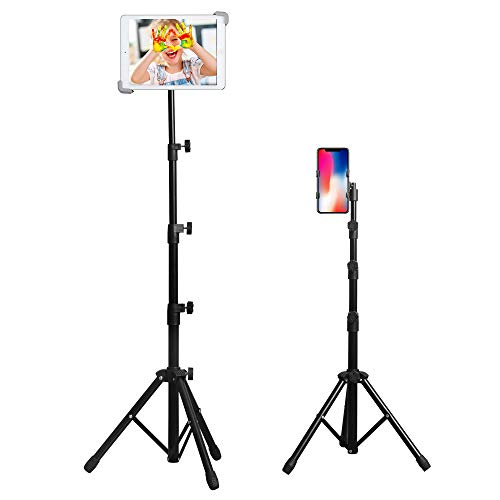 WinisKi Ipad Tripod Stand, Foldable Tablet Holder Floor Stand, Height Adjustable for Ipad Air, Ipad Mini, and More 7 to 12 Inch Tablets, Phone Holder, Bluetooth Remote Controller
