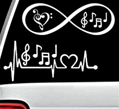 Yilooom Music Notes Heartbeat Lifeline Infinity Decal Sticker Marching Band BG 187