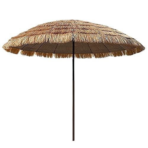 LANHA 2m Playa Hawaiana Sombrilla Parasol Redonda de Paja, Muebles de Patio de jardín a Prueba de Agua al Aire Libre con manivela e inclinación de 45 ° Parasol al Aire Libre para jardín Piscina Patio