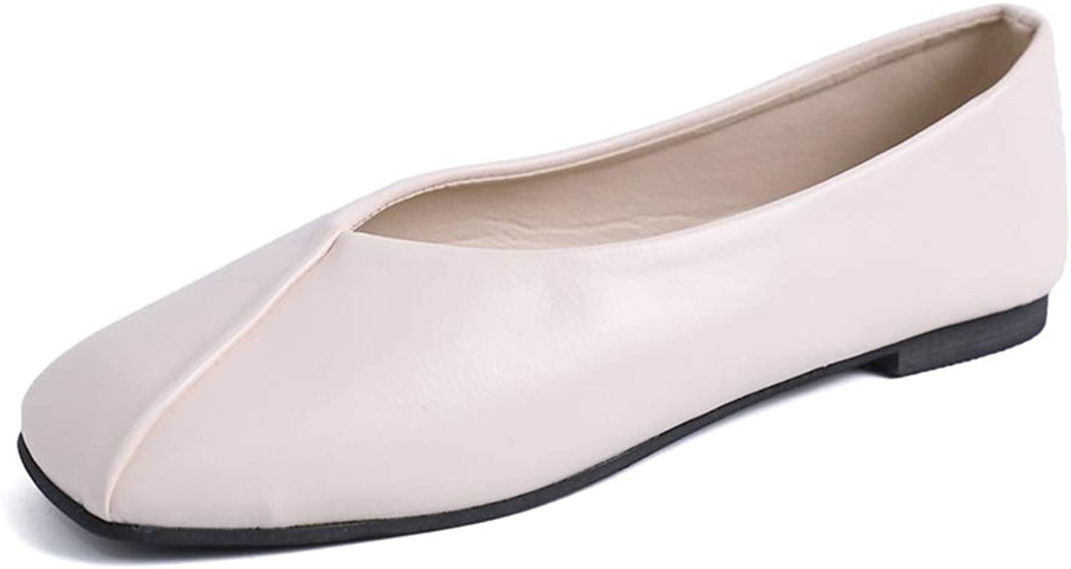 Women's Casual Flats Square Toe Soft Solids Leather shoes Soft Slip-On Casual Boat shoes