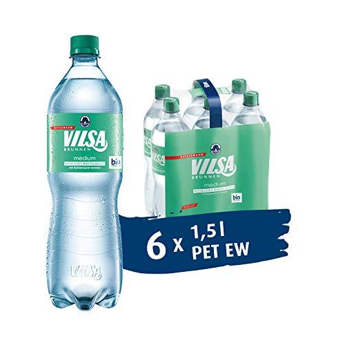 VILSA Mineralwasser medium, 6er Pack Mineralwasser mit Kohlensäure, natriumarm, in Einwegflaschen (6 x 1,5 l PET)