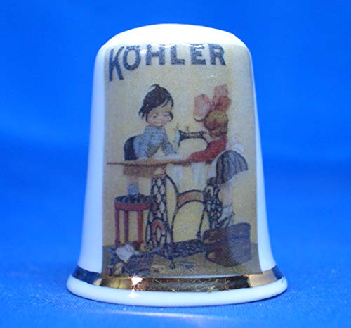 Birchcroft - Caja de póster de Porcelana China con diseño de máquina de Coser Kohler