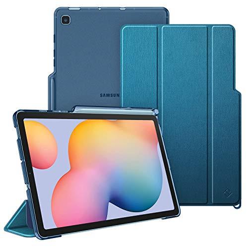FINTIE Coque pour Samsung Galaxy Tab S6 Lite 10.4 SM-P610/ P615 avec Porte-Stylo S - Etui de Protection Arrière Semi-Transparent Housse Cover Mince et Léger Sommeil/Réveil Automatique, Bleu