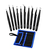 Tweezers Precision Set,Easily Life 10pcs ESD Tweezers Set, Anti Static Stainless Steel Ant...