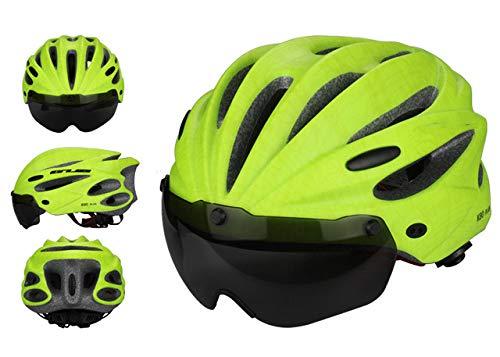 HLOEC High Density EPS Fahrradhelm Mit Schutzbrille MTB Mountainbike Sporthelme Fahrradkrempe, Hellgrün