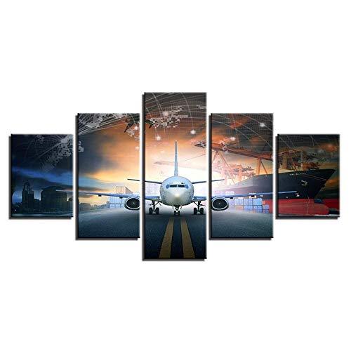 Modulaire Canvas Prints Poster Home Wall Art 5 Stuks Vliegtuigen Schilderen Animatie Foto'S Voor Woonkamer Decor-With Frame