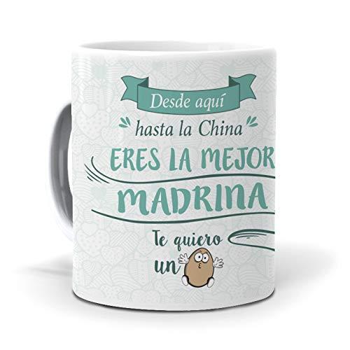mundohuevo Taza Desde aquí hasta la China Eres la Mejor Madrina