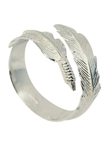 Boho Style Adjustable 925 Sterling Silver Angel Feather Ring