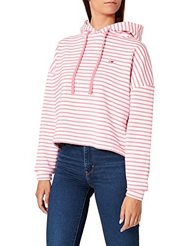 Tommy Jeans TJW BXY Crop Stripe Hoodie Sudadera, Botanical Pink/Multi, M para Mujer