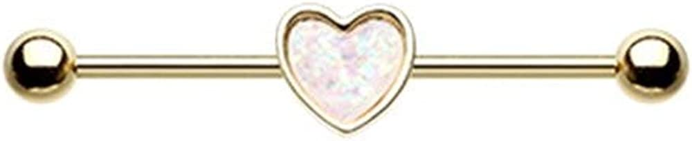 Covet Jewelry Golden Simple Opal Heart Inlay Industrial Barbell