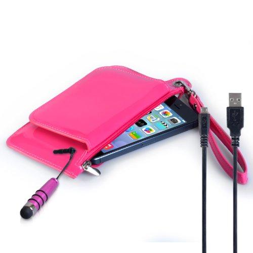 Hülleflex Kompatibel Für Wiko Cink Peax 2 Tasche Dunkelrosa Kunst Leder Geldbeutel Hülle Mit Mini Handgriffel Stift Und USB-Kabel