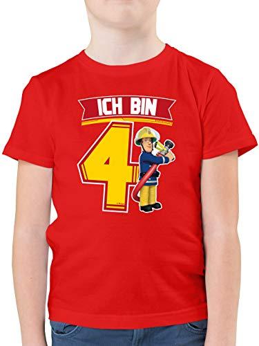 Feuerwehrmann Sam Jungen - Ich Bin 4 - Sam - 116 (5/6 Jahre) - Rot - Spruch - F130K - Kinder Tshirts und T-Shirt für Jungen