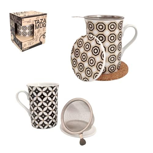 Pack» 2 Tazas Para Té Con Filtro y Tapa (280 ml) Con Asa, Para Infusiones, Café, Desayuno + 2 Posavasos corcho ecológico(Vintage)