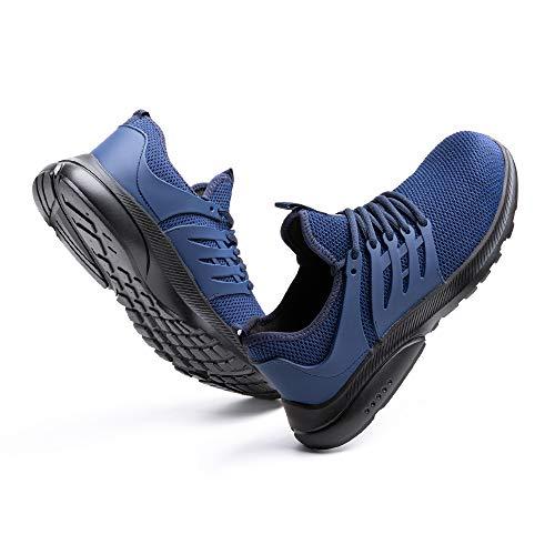 Zapatos de Seguridad Hombre Trabajo Zapatillas de Seguridad Mujer Punta de Acero Ligeros Comodos Botas Industrial Sneakers Construcción Azul-2 45 EU