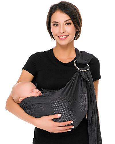 Écharpe de portage avec anneau d'ajustement - Porte-bébé ventral ou dorsal de marque CUBY - Réglable - Matériau respirant (Gris)