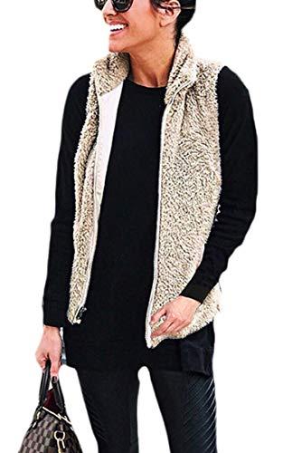Spec4Y Damen Weste Schafwolle Winter Waistcoat Stehkragen Warm Outwear Plüsch Ärmelos Kleidertasche Stehkragen Lässige Kunst Zip Up Pelzjacke Coat Kaffee S