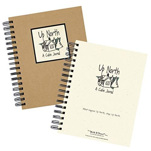 "Journals Unlimited ""Write it Down!"" Series Guided Journal, Up North, A Cabin Journal, with a Kraft Hard Cover, Made of Recycled Materials, 7.5""x 9"""