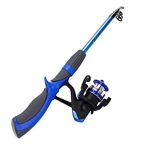 XIANGMENG Vara de pesca telescópica de fibra de carbono de 1,2 m/1,4 m com combo de molinete de pesca, vara de pesca com mosca de gelo superdura, adequada para água salgada e doce
