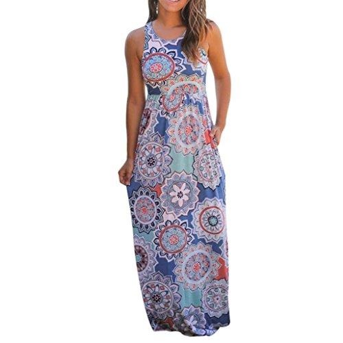 Longra damesjurk, sexy, mouwloos, bloemendruk, maxi-jurk, met zakken voor dames, chique jurk, zomer, bohem, bloemenprint, schoudervrij, casual kraag, strandjurk, vintage
