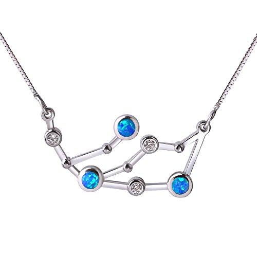 C.QUAN CHI 925 Sterling Silber Halskette Erstellt Opal Schmuck Anhänger Astrologie Konstellation Horoskop Sternzeichen Halskette Geschenke für Frauen Geburtstagsgeschenk