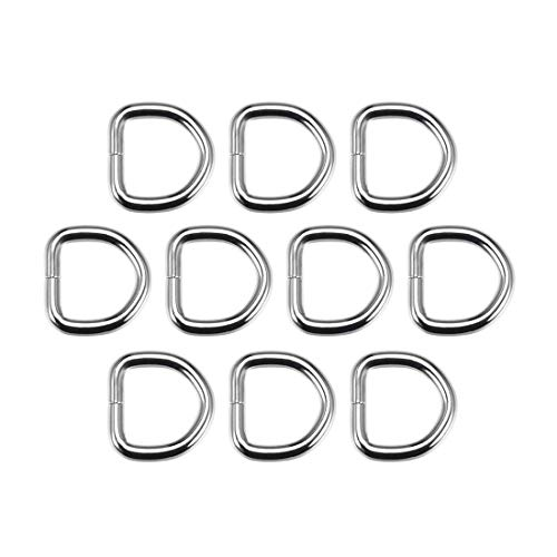 DyniLao 10pcs Metal D-Ring 0.8'(20mm) D-Buckle Buckles for Hardware Bags Belts DIY Crafts Accessories Silver Tone
