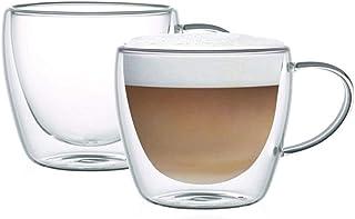 Neoflam Borosilicate Double Wall Glass Mug Set Of 2, Coffee Mugs, Latte Mug, Clear Mugs 150 Ml, DTC2115H, Transparent