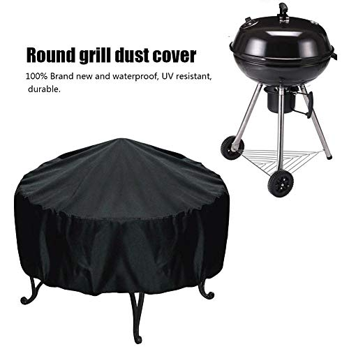 Round Fire Pit Cover, Outdoor Heavy Duty, Waterproof and Weather Resistant, 44 Inch, Black