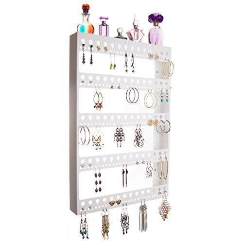 Earring Holder Organizer for Large Long Dangle Earrings Hoops Wall Hanging Earing Jewelry Holder Display Closet Storage Rack Shelf, Nichole White