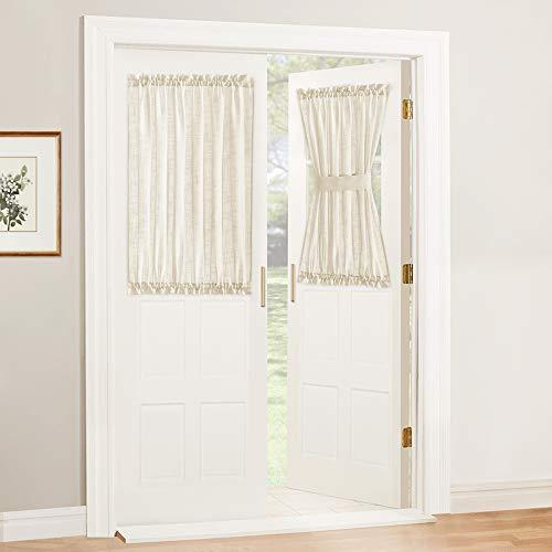 RYB HOME Sidelight Curtain for Front Door - Sheer Door Side Light Window Curtains for Entry Door Kitchen Back Door Nursery Bathroom Window, 2 Free Tiebacks, 2 Pcs, Wide 52 x Long 40 inches, Beige