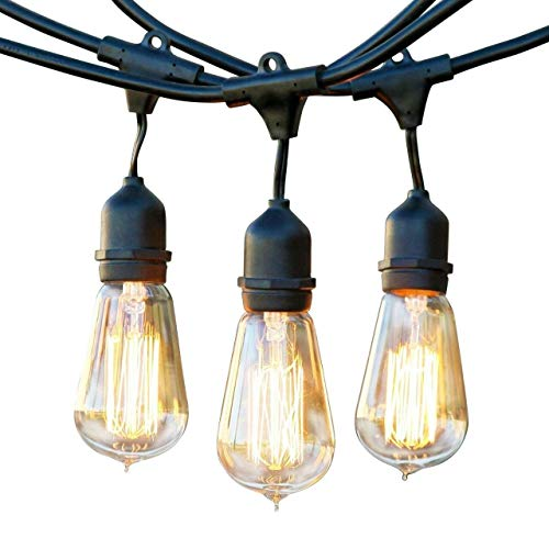 Brightech Ambience Pro - Outdoor Edison String Lights - Dimmable Vintage Filament Bulbs Create Old Time Bistro Ambience On Your Patio - Commercial Grade Weatherproof - 48 Ft Market Lights