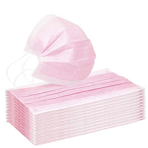 WoCoo Adult Face_mask, 3 Ply Non-Woven Disposable Cotton Fabric(50pcs pink)