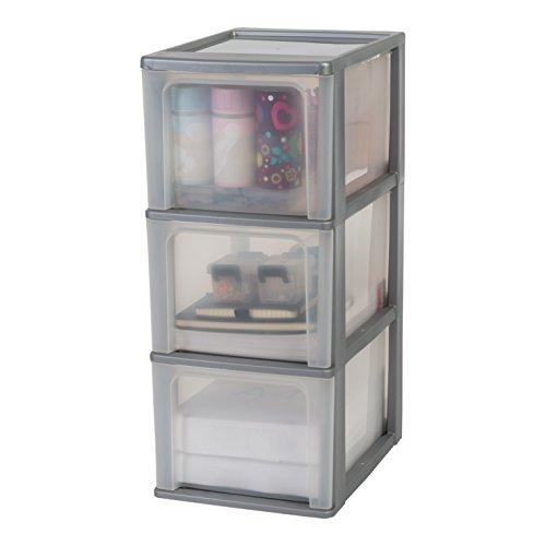 Iris Ohyama, Schubladenschrank / Schubladencontainer - Organizer Chest OCH-2300 - plastik, silber, 3 x 13 L, L35,5 x B26 x H60,2 cm