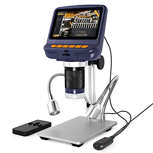 Andonstar AD106S Microscopio Digitale USB, 4,3    Microscopio per Saldatura PCB Orologio Telefono Strumenti di Riparazione, con Supporto e Telecomando IR