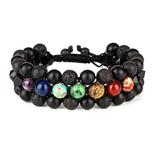 Bivei Mens Natural Lava Rock Stone Aromatherapy Essential Oil Diffuser Bracelet Chakra Yoga Healing Energy Gemstone Faceted Black Agate Anxiety Bracelets-3 Layer
