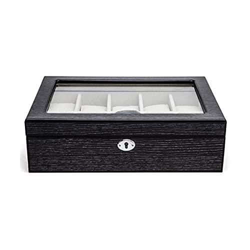 LSLS Caja joyero Caja de exhibición de almacenamiento de relojes de cuero, reloj de joyería de relojes de una sola capa 10 grillas con compartimentos para anillos de gemelos Cadenas Pines Lockable Org