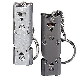 KNMY 2 Stück Signalpfeife, Notfallpfeife aus Edelstahl 150db High Decibel Outdoor-Notfall-Schlüsselbund Pfeife mit Schlüsselanhänger für Outdoor-Überleben, Camping, Wandern, Hundetraining