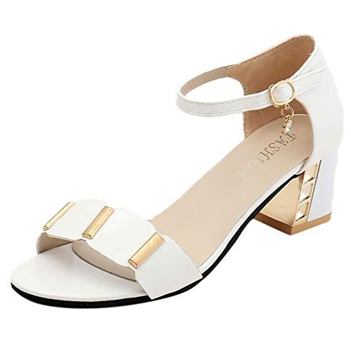 YWLINK Mode Damen Klassisch Schnallenriemen Blockabsatz Sandalen Party Peep-Toe Schuhe Sandalen Damen Sommer Mit Absatz Römersandalen(Weiß,39 EU)