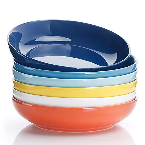 Sweese 112.002 Suppenteller 6er Set aus Porzellan, Ø 19.5 cm Pastateller, Tiefteller, Nudelschalen, Suppenschalen, Salatschale, Bunte Serie