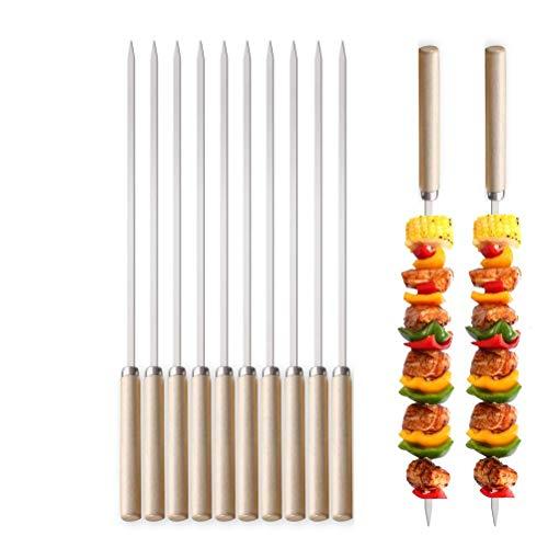 DTnewsun Grillspieße,Grillspieße mit Holzgriffen,Anti-Verbrühungs-Grillspieße,Kebab-Spieße aus Edelstahl(12 Stöcke) für Fleisch, Gemüse, Brot zum Grillen