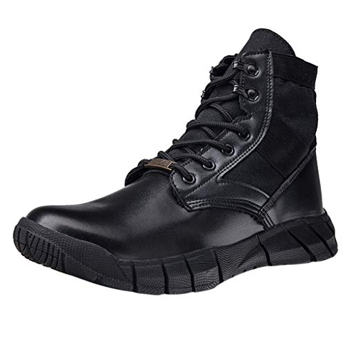 Gaowen Men's Arched Support Non-Slip Lace-Up Mountaineering Short Boots Casual Light Work Shoes (Black, 9.5-10)