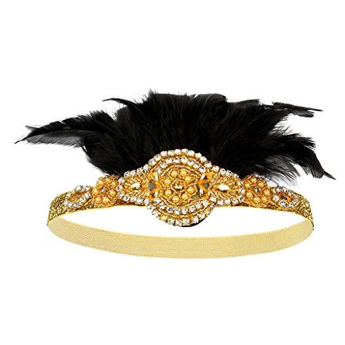 Lazzboy Karneval 1920 Frauen Elegante Hut Gurt Blume Feder Partyhut Haarspange Stirnband Zubehör Damen Schwarz Haarband Festzug Accessoires Flapper Gatsby Blatt Muster(Gold)