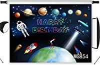 HD Space Planet Themed Birthday Photo Backdrop for Boys 10x7ft Kids Children Birthday Photography Background for Party Astronaut Rocket Telescope Decoration Photoshoot Props