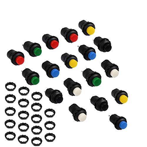 BUYGOO 18 Piezas Interruptor de Botón Pestillo de Plástico Bricolaje 12 mm Mini Impermeable Botón Pulsador 6 Colores interruptores de enclavamiento encendido y apagado