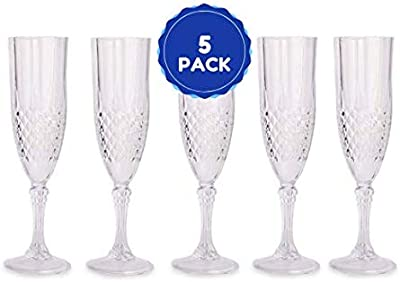 Amazon Com Plastic Crystal Like Champagne Flutes 8 Oz Drinking Glasses Elegant French For All Occasions Set Of 5 Glass Cups Wine Glasses