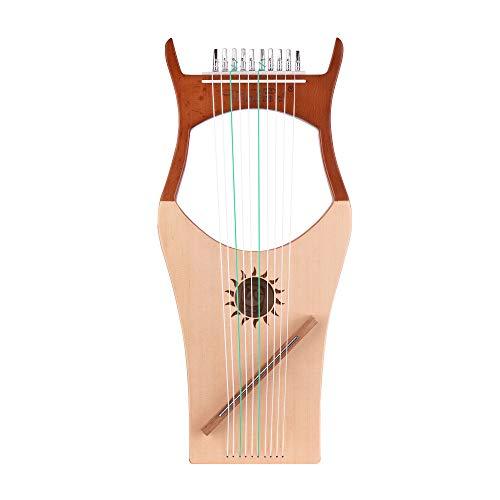 Kalaok Walter.t 10-saitige hölzerne Lyra-Harfe-Nylon-Saiten Fichtendeckel aus Buchenholz mit Saiteninstrument und Tragetasche WH03