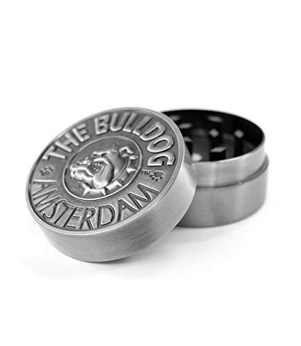 The Bulldog Amsterdam Grinder de metal, 2 piezas grabadas en plata para papel de liar tamaño King